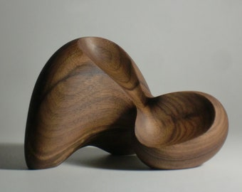 Abstract Wood Sculpture - Butoh Tripod No.3 - Carved From Black Walnut With Hand Tools - Freestanding, Modern, Contemporary, Original