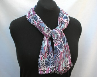 Printed Chiffon Scarf in Blues and Pinks, Lightweight Crepe, Easy Care