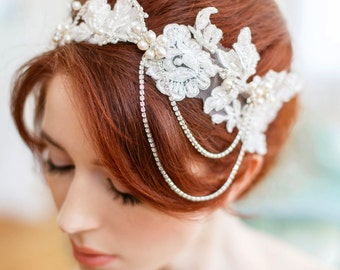 Beaded Lace Hairpiece, Crystal Pearl Crown, Ivory Wedding Headband, Fresh Water Pearl Wedding Accessory, Hair Jewelry Crown