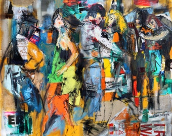 Figurative Painting Large Giclee Art Print Oil Dance Modern