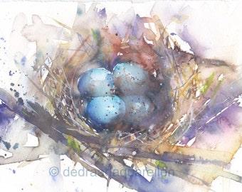 Nest. Original watercolour.