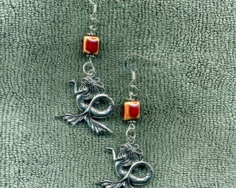 The Mermaid New Earrings, Accented With Red Brick Ceramic Cube Beads