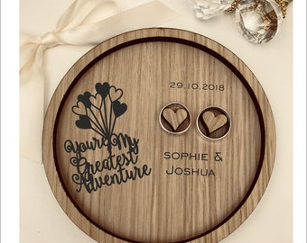 Wedding Ring Bearer Tray: Personalised Engraved UP - You're My Greatest Adventure. Dish, Box, Gift, Vintage, Rustic, Weddings, Anniversary