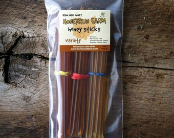 Honeysticks -Variety Pack: Summer, Fall, and Lavender Infused - 24 honey filled straws