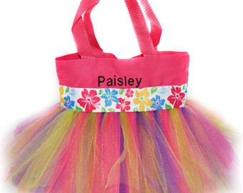Tutu Bag, Beach Bag, Hawaiian Tutu Tote Bag,  Personalized Girl Dance Bag, Tutu Bag, Dance Bag, Hawaii Bag. Kids Bag, Tropical Tote Bag