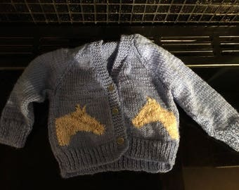 "Hand Made Baby Boys Cardigan Newborn 18"" In Mid Blue With Horse Motif Lovely"
