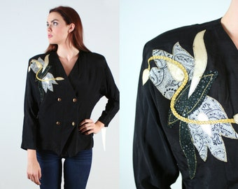Vintage 1980s Embellished Black Jacket DEADSTOCK