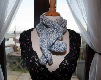 Handknitted Scarf in Blue and White Yarn