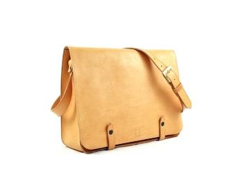 Tan LEATHER MESSENGER BAG, Full grain leather briefcase, Laptop satchel, Custom Monogram bag
