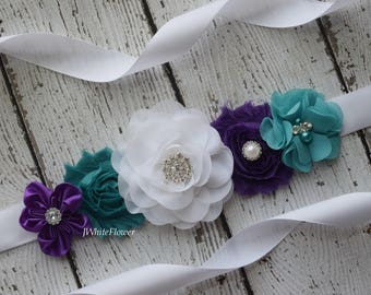 White teal purple Sash , flower Belt, maternity sash, wedding sash, flower girl sash, maternity sash belt