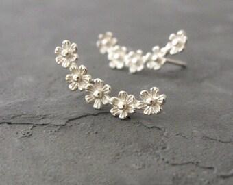 Ear Crawler Earrings, Silver Climber Earrings, Ear Crawler, Ear Climber, Silver Jewelry, Climber Earrings, Crawler Earrings, Flower Earrings