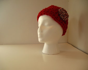 Red Beanie With Crocheted Flower