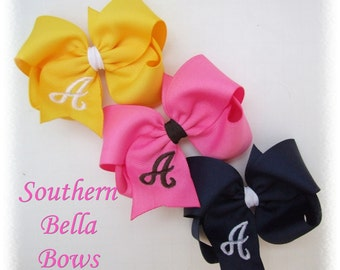 Set of 3 Monogrammed Boutique Hair Bows...You Choose Colors...Over 90 Colors To Choose From