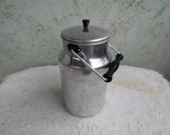 Vintage Aluminum Milk Can - Kitchenalia - Enamelware - Home Decor
