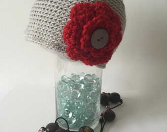 Baby Buckeye hat,newborn infant toddler baby OSU hat,scarlet and gray lighter weight acrylic baby Ohio State hat,hat with detachable flowers