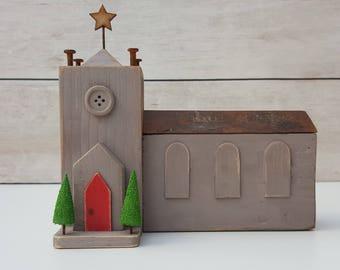 Handmade driftwood village church, driftwood gift.
