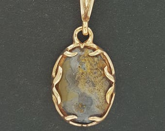 Pronged Bezel Pendant in Bronze with Crazy Lace Agate