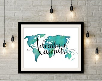 Adventure Awaits Quote Poster Travel Poster Teal Wall Decor - World Map Poster Wanderlust Poster Travel Nursery Poster Adventure Poster