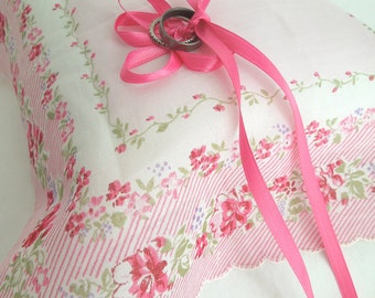 Pretty In Pink Vintage Hankerchief Ring Pillow