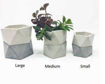 Geometric Concrete Planters (set of 3), Icosahedron, Concrete Succulent Planter, Modern Concrete Planter, Cement Planter, Concrete Tealight
