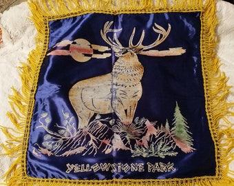 Antique Silk Souvenir pillow cover 1940's-1950's