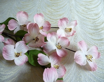 Dogwood flower etsy pink shaded silk dogwood flowers large spray of 12 blossoms on twig nos for millinery bouquets mightylinksfo Image collections