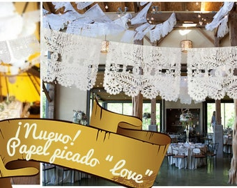 """15  lines / 150 flags Papel Picado """"LOVE"""" Mexican Bunting Cut out paper for weddings (15 lines of 10 flags/ total 150 flags)"""
