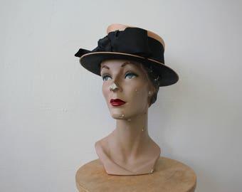 vintage 1960s hat / 1960s Frank Olive straw hat / 60s tan black straw hat / 60s does victorian hat / 60s wide brim hat / straw sailor hat