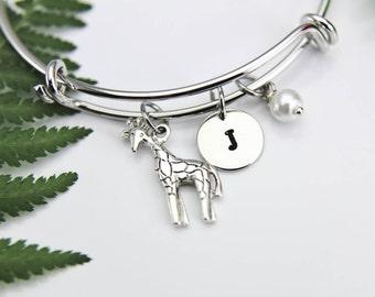 Giraffe Bangle, Giraffe Bracelet, Giraffe Charm, Animal Charm, Personalized Bracelet, Expandable Bangle, Initial Bracelet