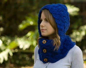Cobalt Blue Hooded Cowl, Royal Blue Neckwarmer, Button Cowl with Hood