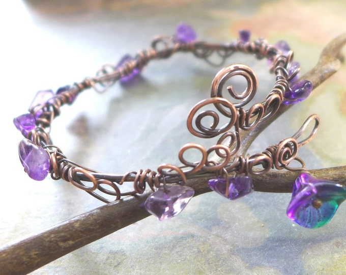 Amethyst Bracelet,Wire Wrapped Amethyst Antiqued Copper Bracelet,Amethyst bracelet,February Birthstone Bracelet,Bangle Leaf Wrap bracelet,