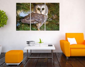 Wall decor Canvas Owls wall art Canvas Art Home decor home canvas decor Wall Art Canvas Print Housewarming gift Christmas gift Night Owl