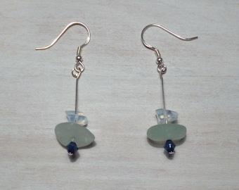 Sea Glass & Silk Earrings - er83-s