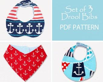 Baby Sewing Pattern, Baby Bib Pattern, Bandana Bib Pattern, Bib Patterns, Bib Pattern, Bib sewing pattern, PDF Sewing Pattern, DROOL BIBS