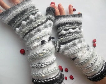 Women L 20% OFF Ready To Ship Accessories Fingerless Mittens Warm Wrist Warmers Gloves Hand Knitted Crochet Winter Arm Striped Mohair 975