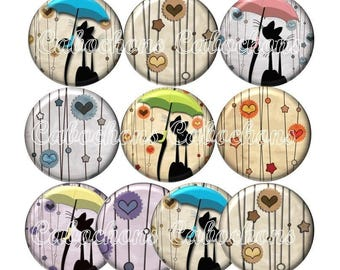 Set of 10 cabochons 16mm glass cat silhouette, umbrella, ZC179