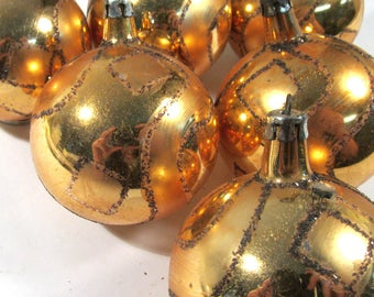 Gold Christmas Ornaments VINTAGE Mercury Glass Ornaments Made in Poland Six (6) Gold Ornaments Christmas Tree Ornaments (D229)