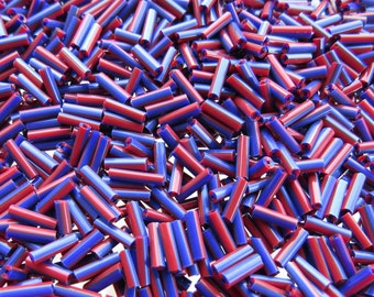 7x2mm Opaque Purple and Red Striped Glass Bugle Beads 40 Grams (C554)