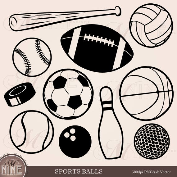 sports balls clip art sports clipart download football clipart rh etsystudio com Book Clip Art Black and White Clip Art Scrapbook