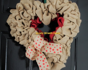 Valentines  wreath , Burlap wreath, Heart Wreath, Wedding Wreath, Love Wreath,  Wreath