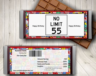 55th Birthday, No Limit 55,  Speed Limit Sign, Candy Bar Wrapper, Over The Hill, 55th Birthday Ideas, Double Nickle Birthday, Party Favors