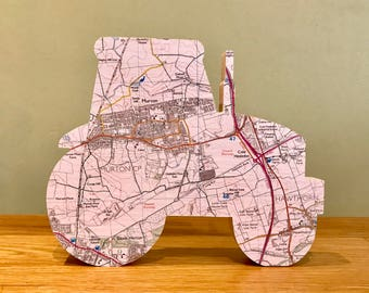Map tractor, wooden tractor map gift, wooden map art. Personalised with a map of your choice. Farmers tractor.