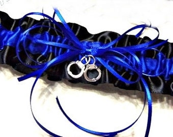 Wedding bridal handcuff charm leg garter. Thin blue line police wedding garter belt.