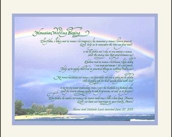 Unique personalized Hawaiian Wedding Gift with English Translation; custom photo choices! Destination wedding gift,FREE US SHIPPING!