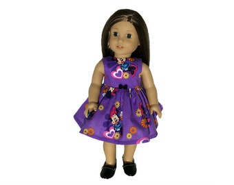 "Adorable Purple Minnie Mouse Dress w/Petticoat/Fits 18"" American Girl Doll/Hearts/Mickey Mouse Loves Minnie Mouse/Dressed For Disneyland!"
