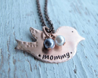 Copper Mama Bird Personalized, Hand Stamped Jewelry, Mother's Necklace with Birthstones