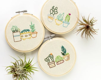 cacti embroidery - Cactus embroidery hoop art - new home housewarming gift - succulent wall art - set of three wall art - cactus plant