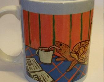 Turtle at the cafe coffee shop mug cup 11 oz art mug cup 11 oz gift