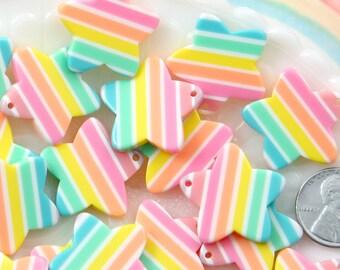 Pastel Rainbow Star Charms - 25mm Pastel Rainbow Star Resin Charms or Pendants - 5 pc set