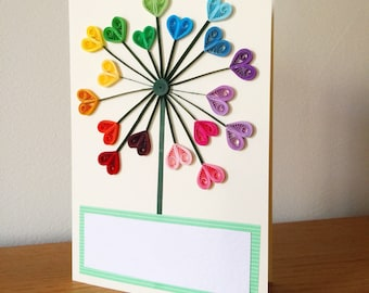 Quilled heart dandelion flower greetings card for birthday, wedding, baby shower